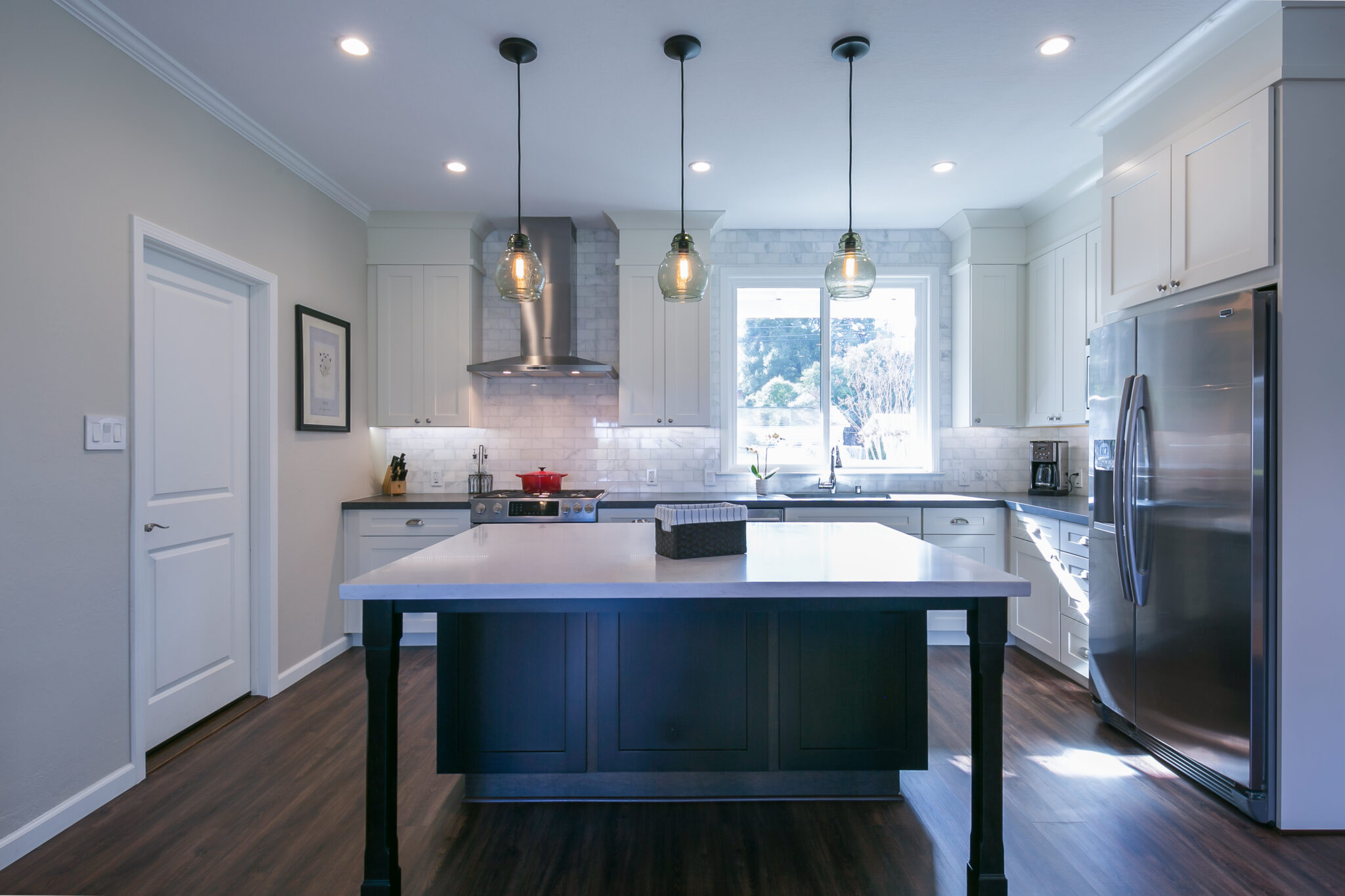 Integrated Kitchens | Transitional White and Dark Kitchen, Marble Tile